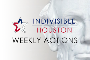 Indivisible Houston Weekly actions graphic