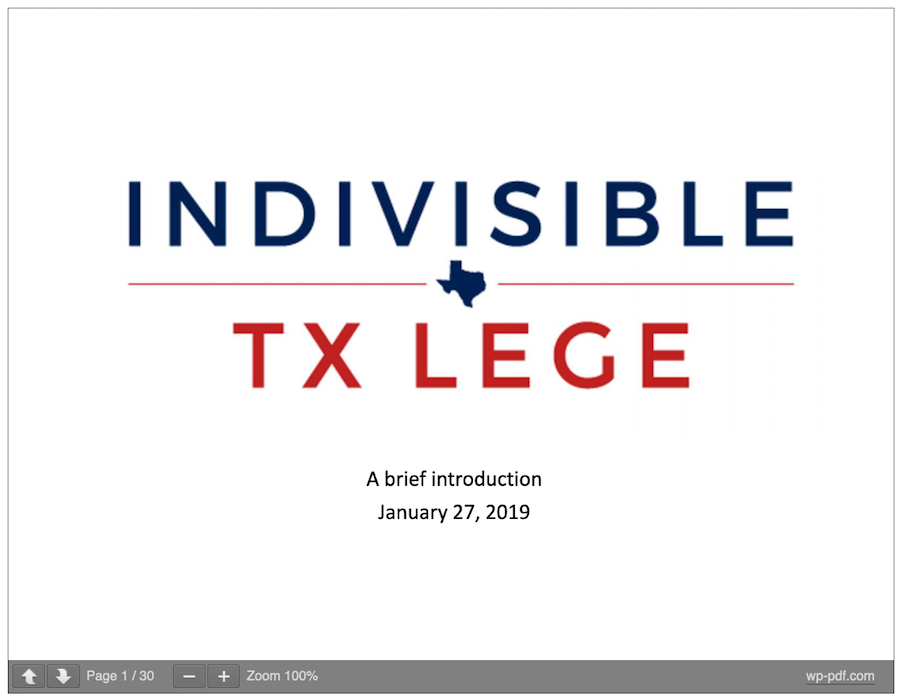 Indivisible Houston TX Lege Intro