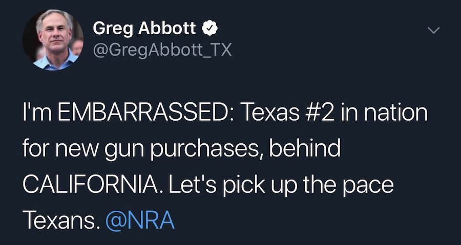 past tweet from Abbott about buying more guns