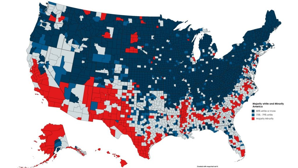 Map: American Counties, by Majority Racial Group. The population of a county shown in dark blue is over 80% white. Medium blue indicates 75-79%. Red indicates that white people make up less than 50% of the county population.