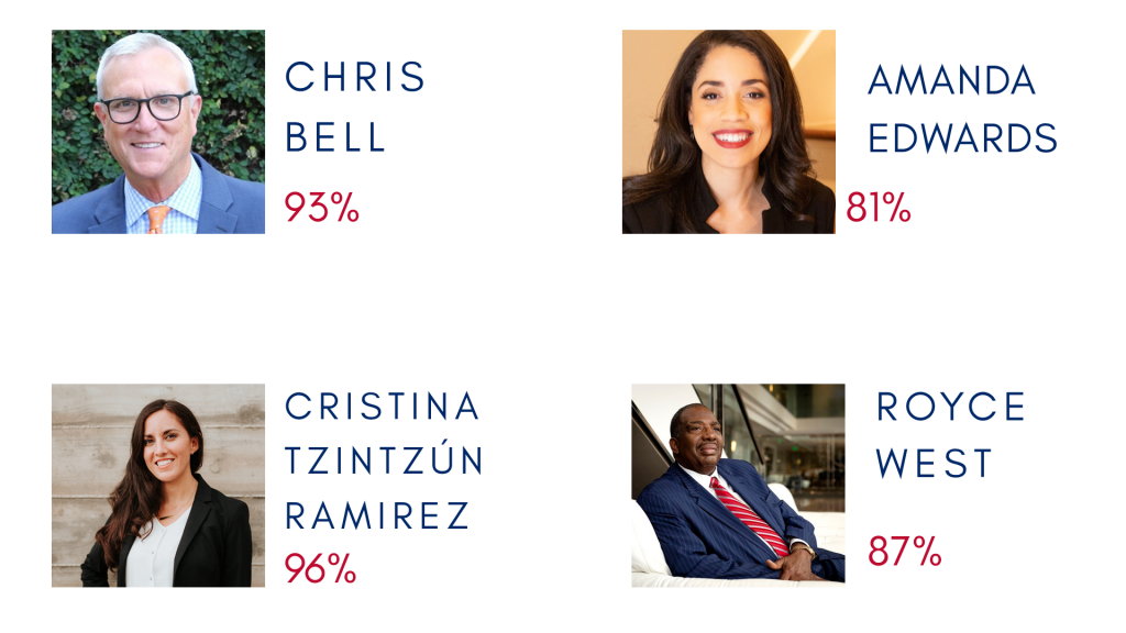 Indivisible Houston Senate Scorecard candidate summary