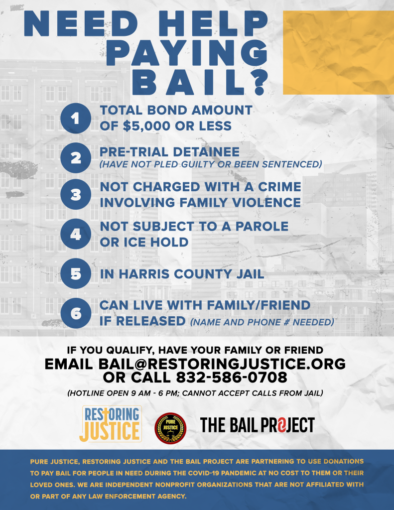 Eligibility Details for Bail Assistance from Restoring Justice and partner agencies