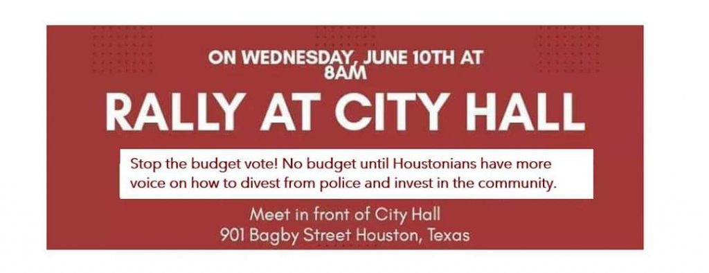 Calendar Invite for Rally at Houston City Hall at 8 AM Wednesday