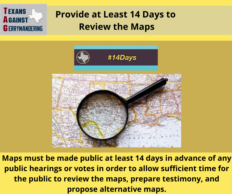 Provide at Least 14 Days to Review Maps