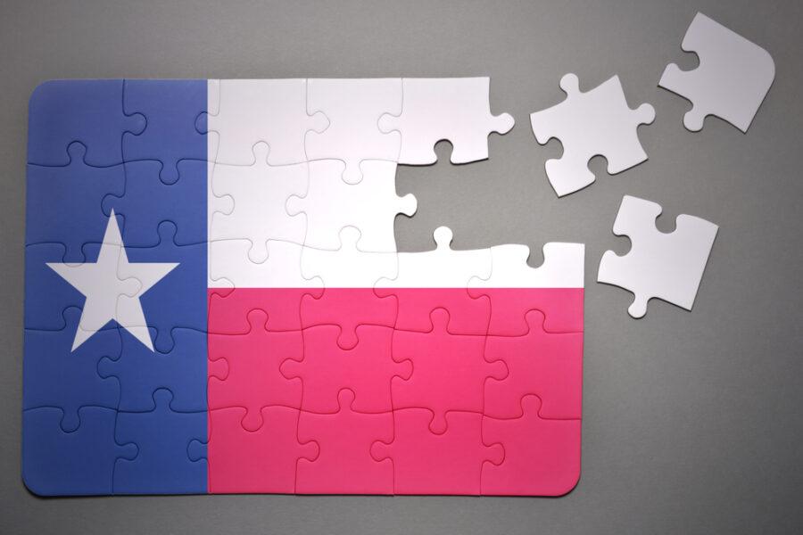 Flag of Texas, broken into puzzle pieces